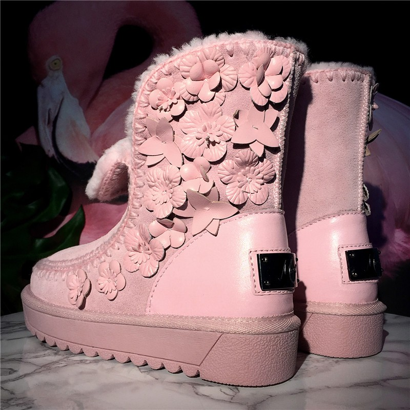 Australia Boots 2016 Winter Genuine Leather Nubuck Leather Woman Wool Snow Boots Black Pink Flower Large Size 34CM-43CM Shoes