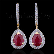 100% Natural Diamond Earrings,Fashion Jewelry 14Kt Yellow Gold Ruby Engagement Earrings For Women E0002J(China (Mainland))