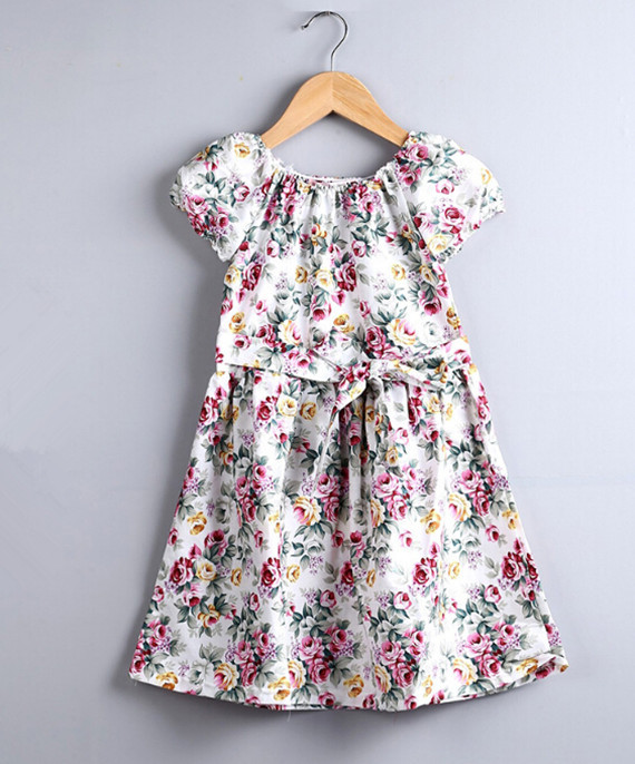 Floral Girls Dresses ,Inspired Pink Floral Girl Dress ,Cotton Baptism Western Girls Outfit Cheap Dress China Factory(China (Mainland))