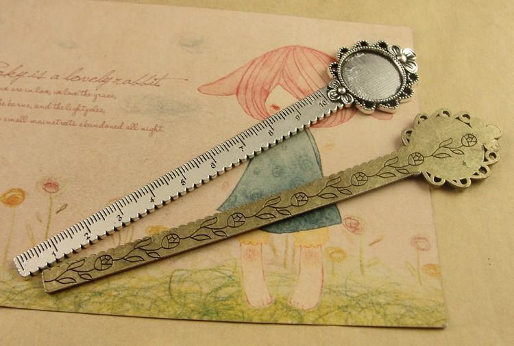 DIY Craft Flower Design Bookmark with Ruler Fit Inner 20mm Cabochon Base Vintage Metal Book Marks School Stationery Supplies