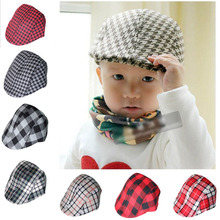2016 Spring and Autumn Kids Fashion Berets Plaid Hats For Baby Boy And Girl Hat And Cap 20 Colors 2-8 years CBLH085(China (Mainland))