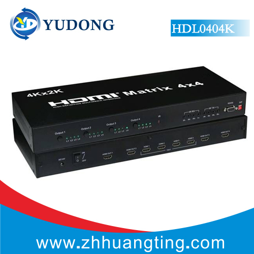 HDMI Matrix 4x4 HDMI Switcher 4X4 Support 1080P 3D 4K 2K Bi-directional IR control ,RS232 Free Shipping DHL(China (Mainland))