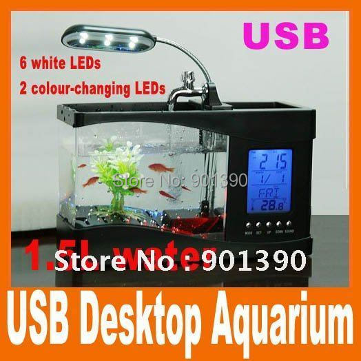 Потребительские товары Fish Tank Aquarium USB LCD , /dropshipping USB Desktop Aquarium 2 5 lcd digital fish tank aquarium thermometer 1xlr44