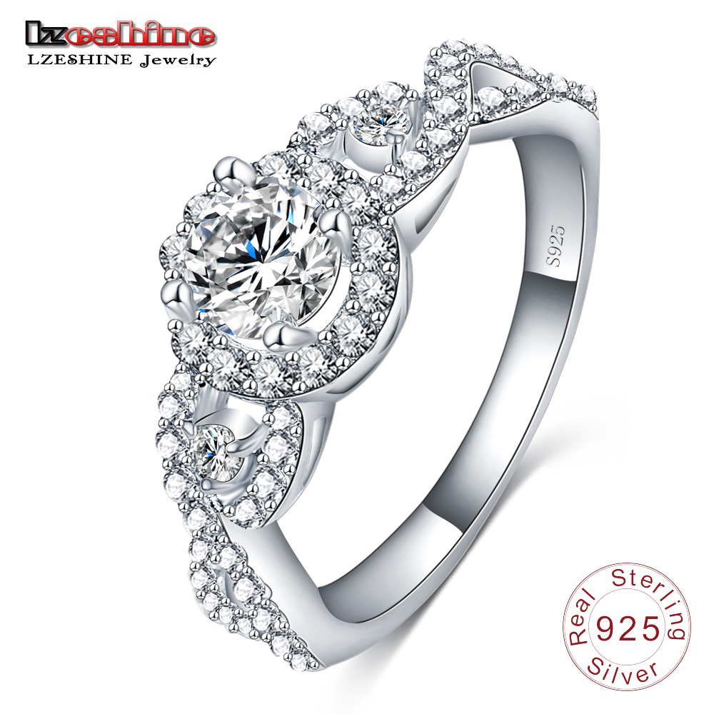 LZESHINE Brand 2016 New Collection 925 Sterling Silver Brilliant Stackable Ring Clear CZ Ring Fine Jewelry Anillos SRI0015-B(China (Mainland))