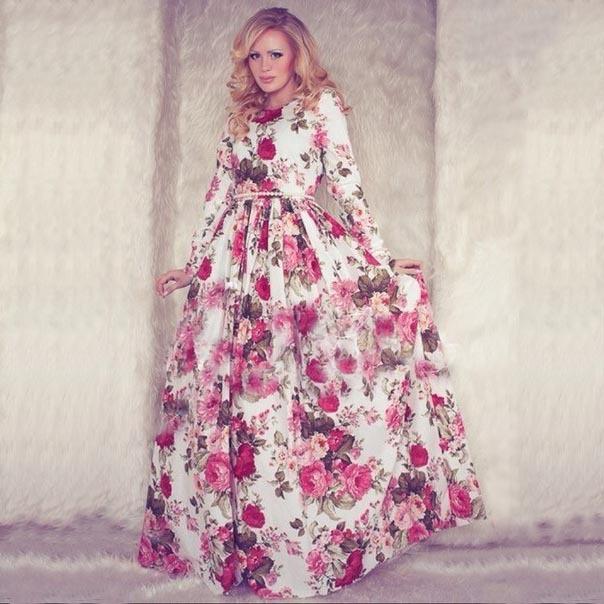 длинные платья с цветами фото