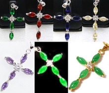 SA 11.23 7 color-fine green/red/yellow/blue/purple zirconia/jade 18KGP cross pendant can choose Discount 35%(China (Mainland))