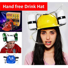 Handfree Drink Holder Hat Toy With Soft Straws Party Accessory for Beer Coke Water Beverage Carrier Helmet Summer Home Outdoor(China (Mainland))