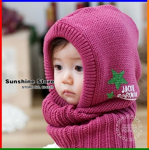 Joined one piece children hat with scarf set,earmuffs children Scarf Hat,Shawl with Hat winter cloak #2C2599  5pcs/lot(4 colors)