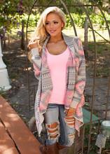 2016 Women Cardigan Pink Long Cardigans Poncho Collarless Long Sleeve Asymmetrical Irregular Printed Casual Shrug Coats Jacket(China (Mainland))