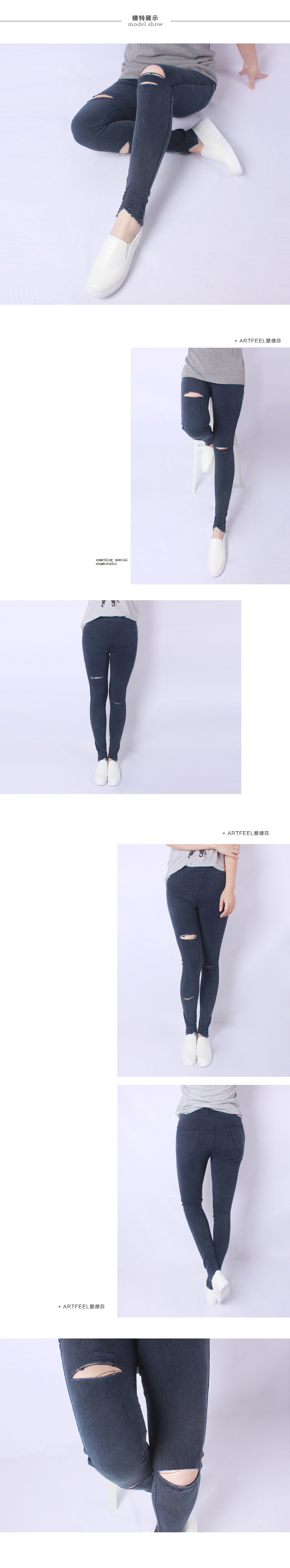 2016 Autumn New Women Jeans Ripped Holes Fashion Straight Famale Washed Denim Pants Cotton Trousers Large Size 4XL JA6024