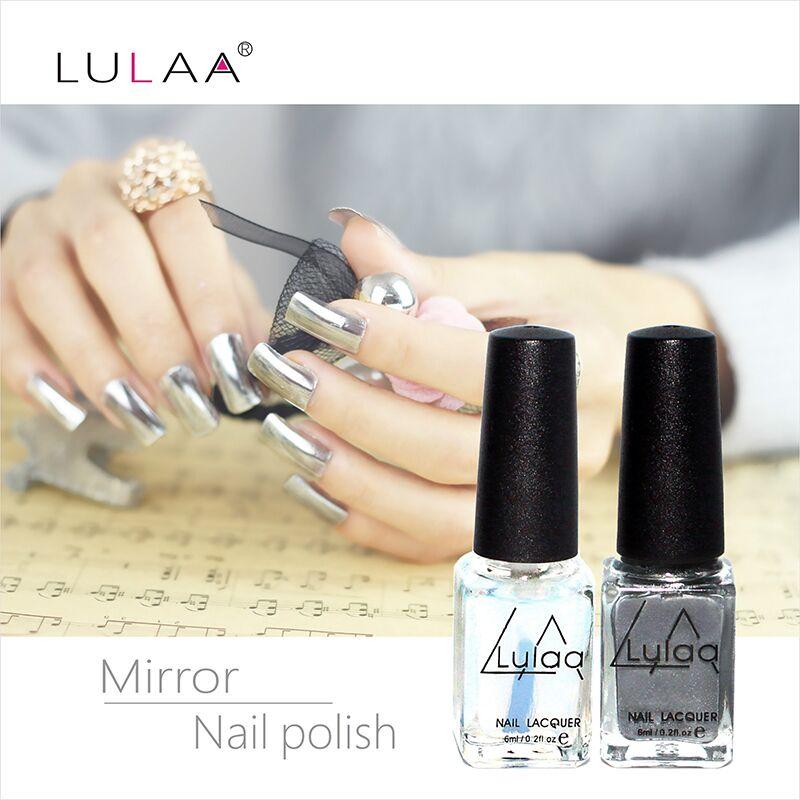 Metallic Nail Polish Silver: 2pc/ 6ml Behind Silver Mirror Effect Metal Nail Polish