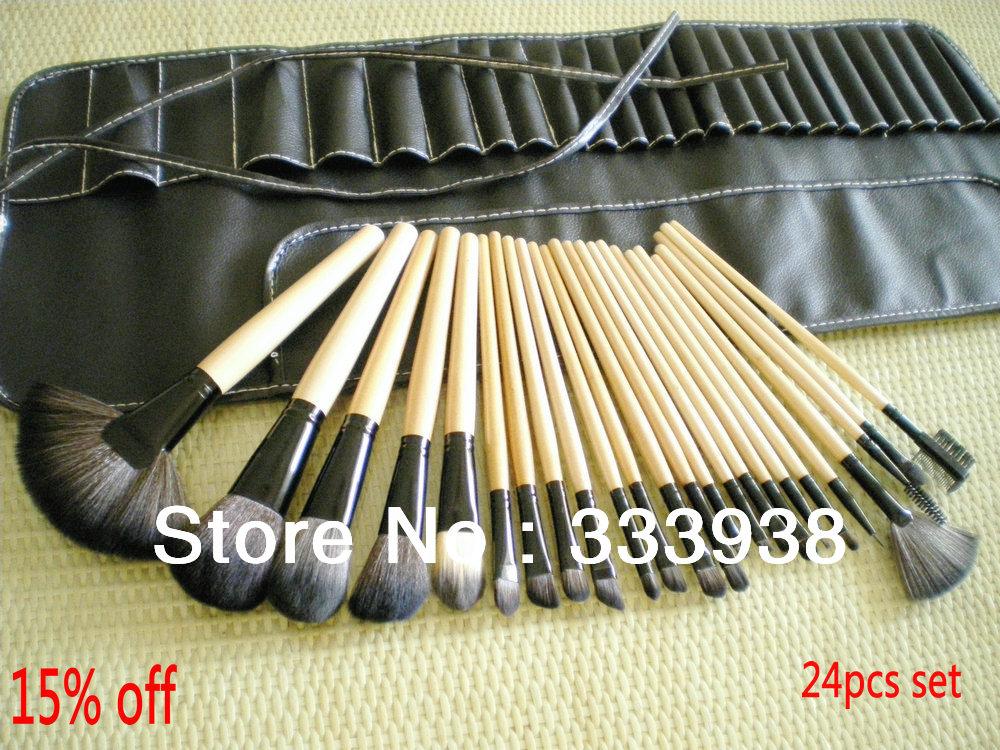 Free Shipping 24 PCS Makeup Brush Set Professional Cometic Brushes Set Synthetic Hair Kits 30% OFF ! No Hair Falling Guaranteed(China (Mainland))