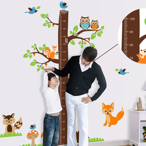 Free Shipping Home Decor Mural Vinyl Wall Sticker Animals Tree Height Chart Healthy Growth Kids Nursery Room Wall Decal Paper(China (Mainland))