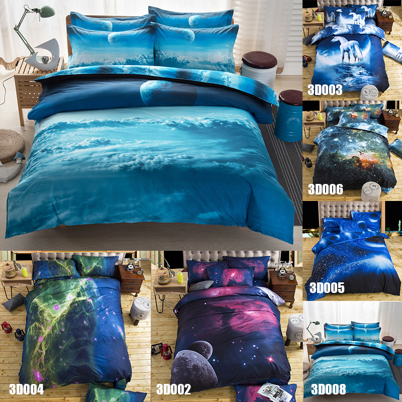 4Pcs/Set Beautiful Galaxy Style Pattern Soft 3D Dream Bed Bedding Sets Duvet Cover Bed Sheet Living Room Decor Queen #231461(China (Mainland))