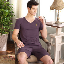 New Men Pajama Sets Soft Homewear Viscose Sleepwear Summer Pajamas Solid Short Sleeve Pijama V-Neck Casual Sleep Lounge Pyjama