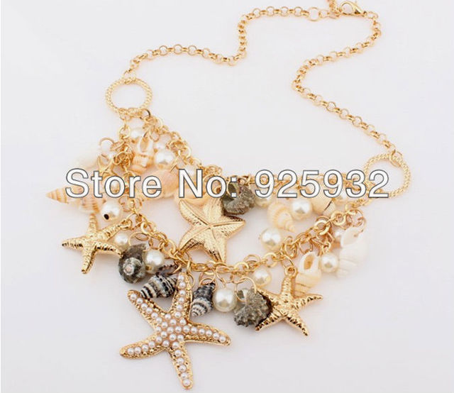 2014 Summer Collares Mujer Free Shipping Chokers Necklace Marine Style Starfish Women Colar Hot Sale Jewelry Wholesale N123