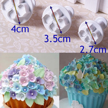 3Pcs DIY Hydrangea Fondant Cake Decorating Sugarcraft Plunger Cutter Decal Flower Mold Pastry Baking Tools(China (Mainland))