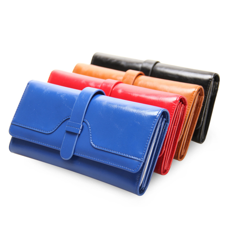 VN 2016 Oil Wax Leather Women Wallets New Fashion Ladies Clutch Purse Long Coin Purse PU Leather Wallet 4 Colors Women's Wallet(China (Mainland))