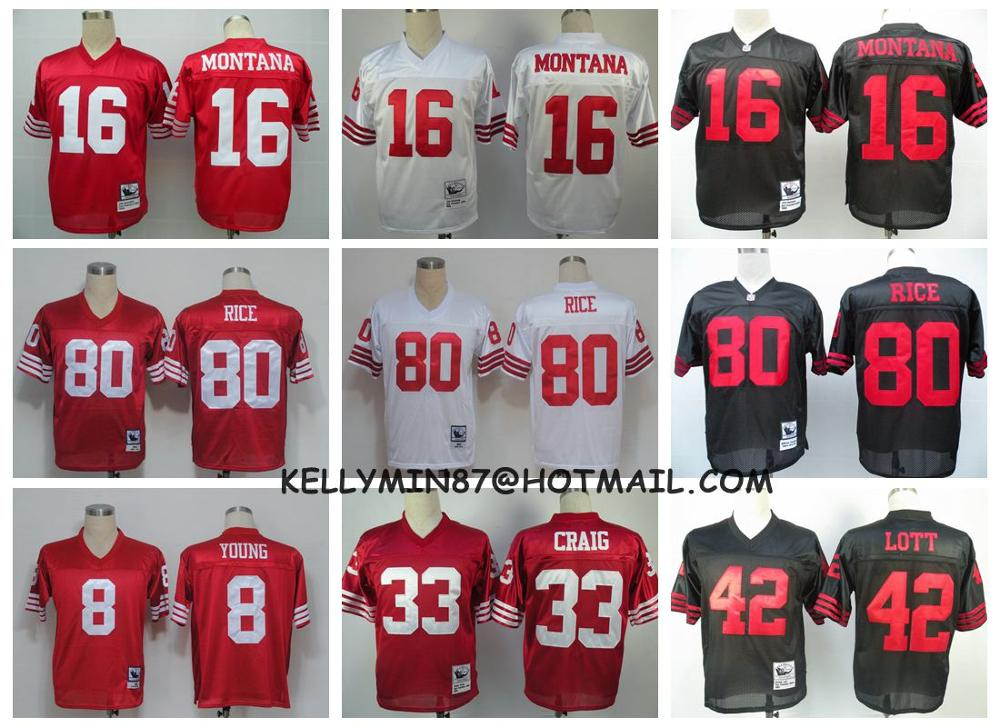 100% Stitiched,San Francisco 49ers,Steve Young,Joe Montana,Roger Craig,Ronnie Lott,Jerry Rice,Throwback for men(China (Mainland))