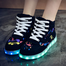 2015 High quality 7 colors women and men high top shoes for USB LED black white shoes