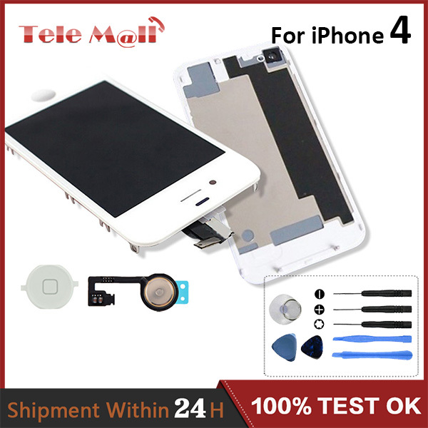 Free Shipping LCD Screen Assembly For iPhone 4 4 G LCD Touch display With Back cover home button Flex cable tools kit(China (Mainland))