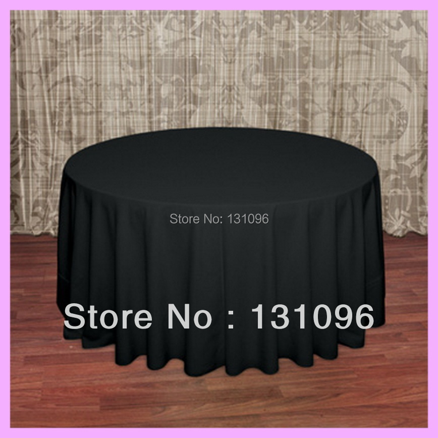 "5pcs High Quality Black 120"" Round Polyester Plain Table Cloth For Wedding Event &Party &Hotel &Resturant Decoration(China (Mainland))"