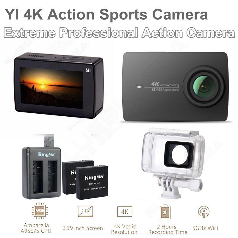 Free shipping!Xiaomi YI 4K Action Sports Camera Yi II 155 Degree 12.0MP+Original Waterproof Case+Battery+Dual Charger
