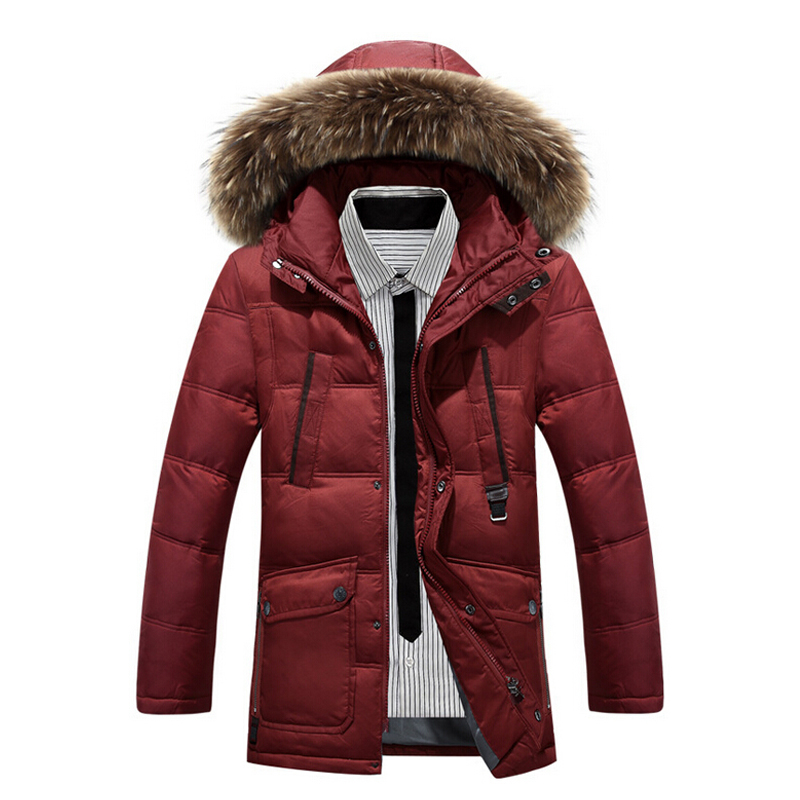 Mens Coat Long Section Parka Jaqueta de Couro 4 Colors Outdoor Jacket Faux Fur Hooded Winter Warm Big 3XL