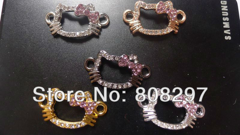 Wholesale! 50pcs Mix Color Charms Sideways Rhinestone Crystal Hello Kitty Connectors Beads & Fit Bracelet Jewelry Finding