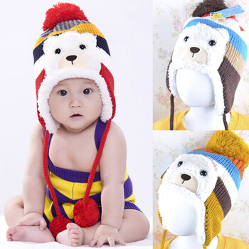 New 2014 Child hat velvet baby ear protector cap thickening winter Warm baby hats children hats caps 5 colors(China (Mainland))