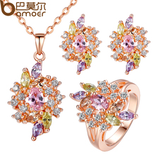 BAMOER Luxury Gold Color Engagement Jewelry Sets with AAA Colorful Cubic Zircon for Women High Quality Bridal Jewelry(China (Mainland))