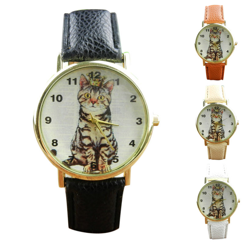 2016 New Arrivals Hot selling elegant noble ladies watches Fashion Neutral Diamond Lovely Cats Face Faux Leather Quartz Watches(China (Mainland))