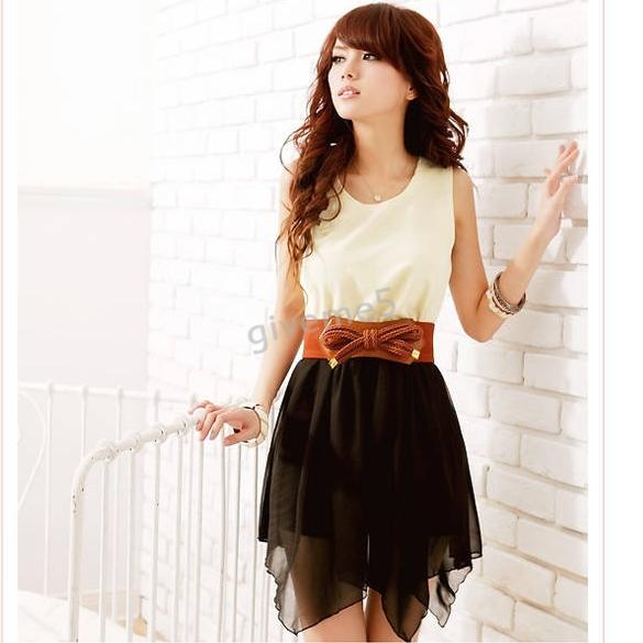 Hot Sale 2014 Korean Women Summer Fashion Chiffon Cotton Blended Sleeveless Top Mini Dress