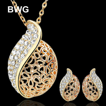 Wedding Engagement Jewelry Sets For For Women 18K Gold Plated Crystal Nigerian African Beads Flower Necklaces Earrings BWGJS1