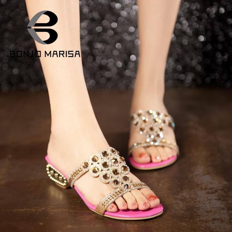 Big size 32-43 Women Gladiator Rhinestone Sandals Chunky Med High Heels Open Toe Platform Flip Flops Casual Summer Shoes