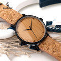 2017 BOBO BIRD Wooden Dial Watches Cork Strap Unique Wood Watch Ladies Wristwatch for Men and