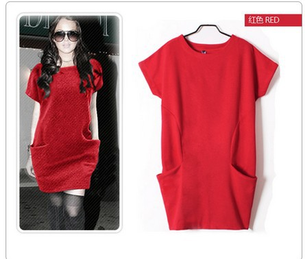 New 2014 Spring Autumn Winter Women Fashion Solid Cotton Dress Knitted Pullover Pocket Dress Black, Red, Grey M-XXL 676(China (Mainland))