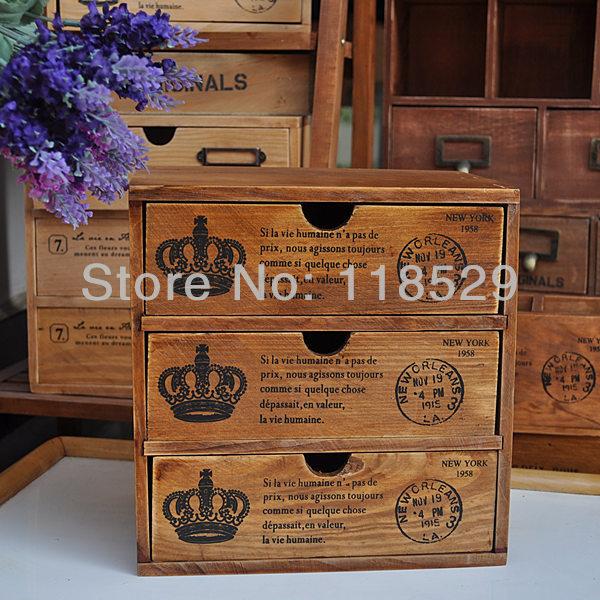 Vintage style wooden storage box wooden drawers jewelry for Vintage wooden storage boxes