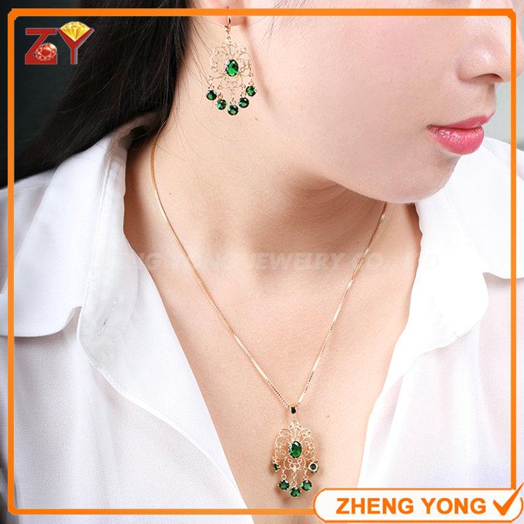 Luxury Emerald Glass Stone Gold Plated Fashion Jewelry Set for Women(China (Mainland))