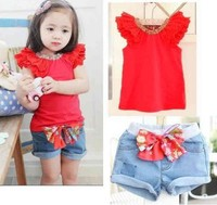 2015 new baby children girls cute denim summer tshirt+ short jeans pants suit casual suit for girl