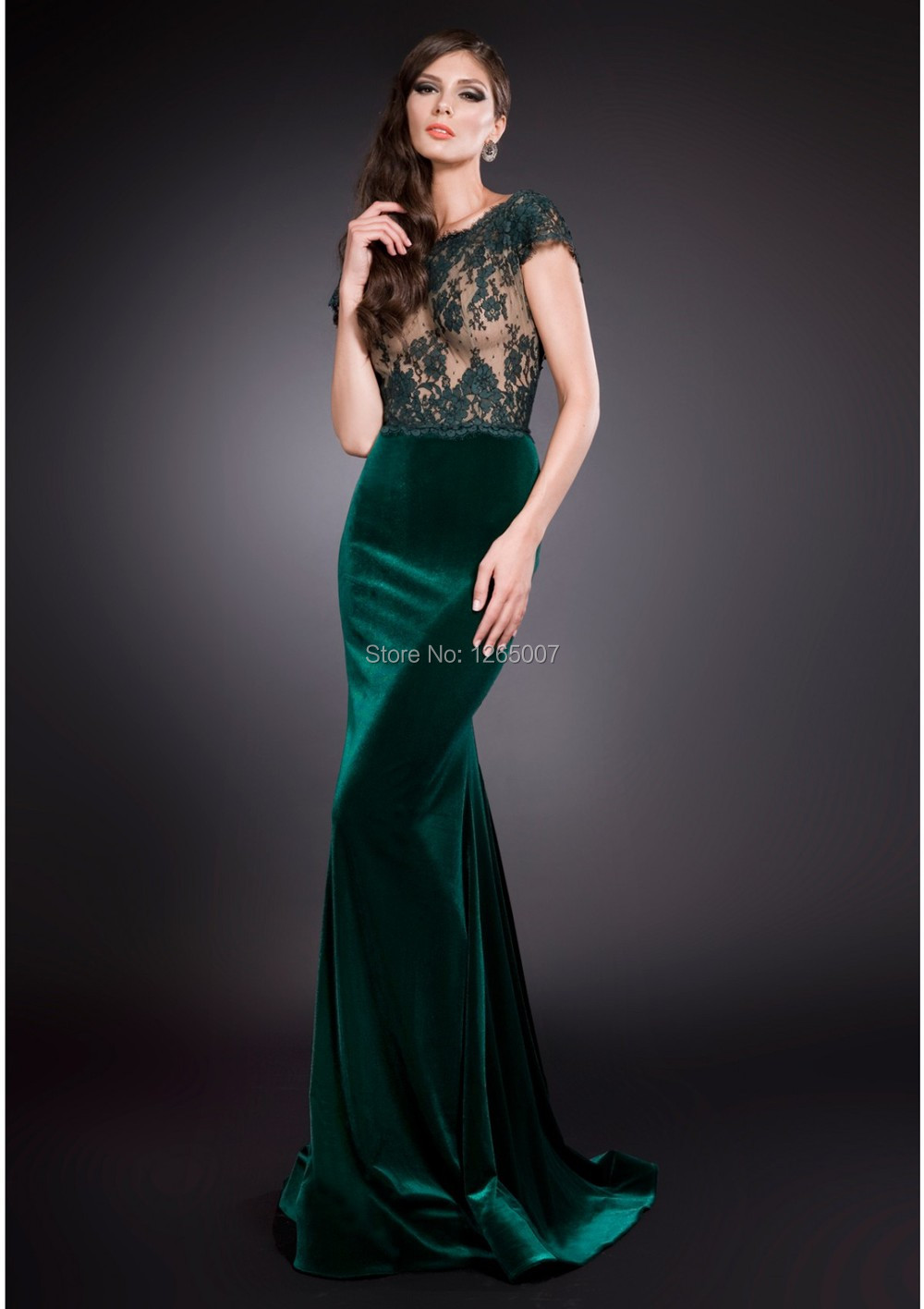 New Arrival Boat Neck Short Sleeves See Through Lace Top Green Long Mermaid Velvet Evening Dress Gown 2015 Formal Maxi Dress(China (Mainland))