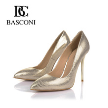 Free shipping 2016 BASCONI woman shoes pointed a stiletto with golden grain sheepskin Leather lining New