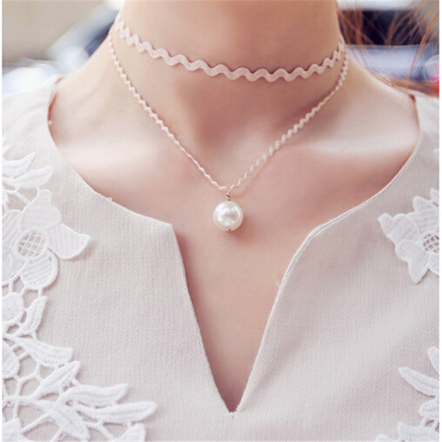 2015 мода шарм ожерелья для девочек одноволнового два слоя ленты с моделируется-жемчужина ...
