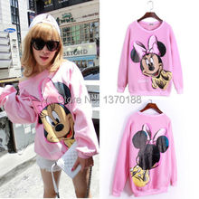 Free shipping new Casual Women autumn Minnie mouse Print Long Sleeve Loose Pullover Sweatshirt Hoodies Tops(China (Mainland))