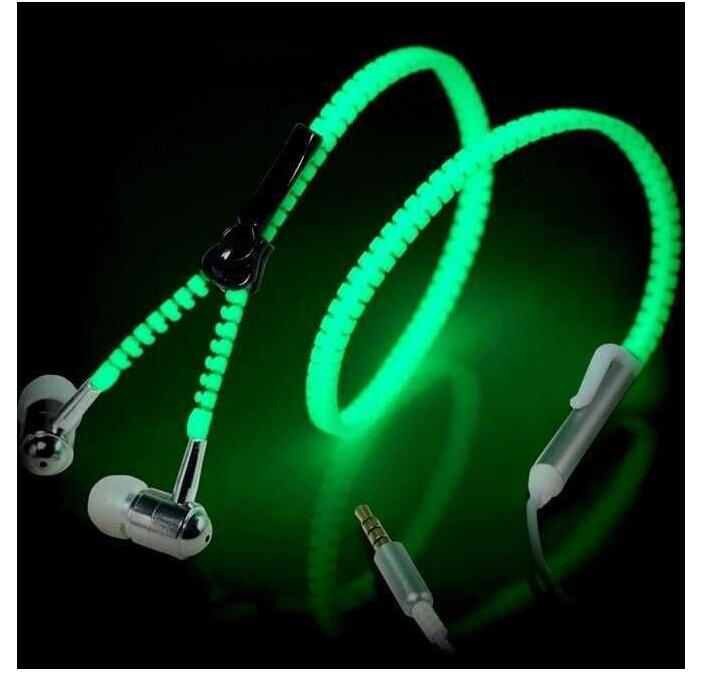 2016 Glow Headphone Luminous Light Metal Zipper Earphone Glow In The Dark Headphones Headset for Iphone Samsung Auriculares(China (Mainland))