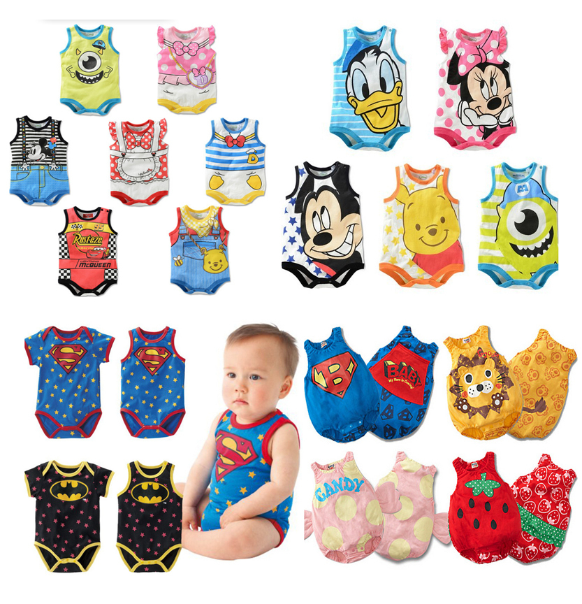 2014 new cute retail baby bodysuits dress newborn mickey minnie