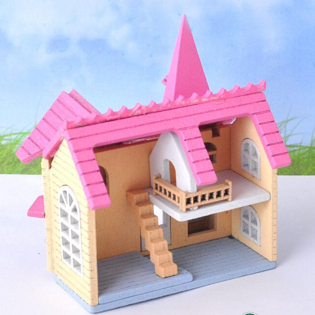 1:12 Dollhouse Miniature DIY Doll House Kits Pink Attic Assembly House Model