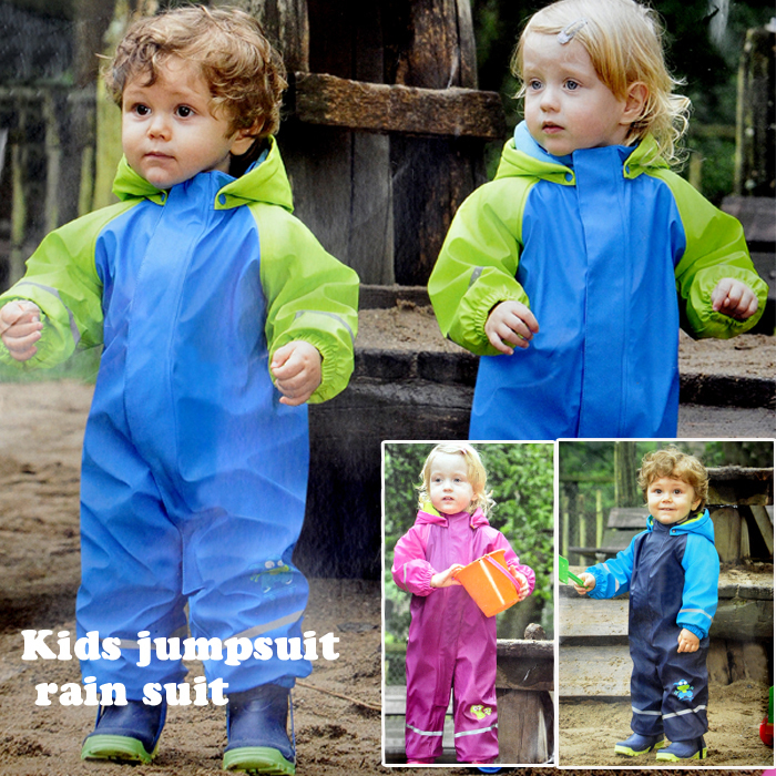 free shipping Kids jumpsuit rain suit Waterproof pants double fabric thick boy girls raincoat Rain-proof pants overalls Ski suit(China (Mainland))