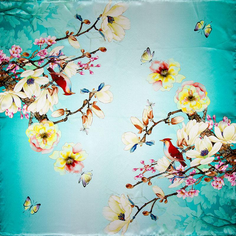 100% Silk Scarf Women Scarf FlowersButterfly Neckerchief Scarf Silk Bandana 2016 Top Foulard Small Square Silk Scarf Luxury Gift(China (Mainland))