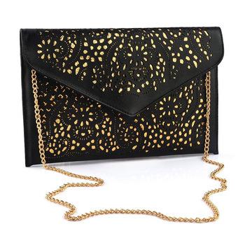 Полиуретан кожа ночной клуб женщины сумка-мессенджер дизайнер сумочка полые конверт сумки сцепление вечернее мешок